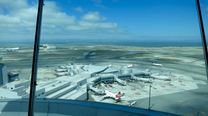 Looking out from 221 feet over Terminal 2, home of Virgin America and American (Chris McGinnis)