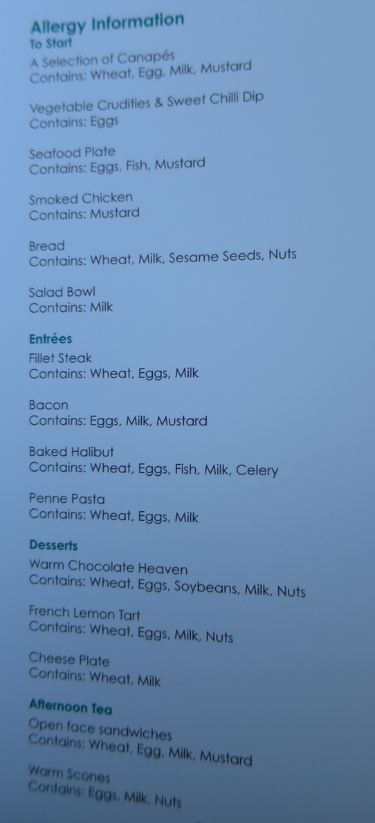 I've never seen allergy information presented on a business class menu (Chris McGinnis)