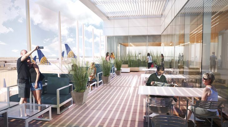 Rendering of the terrace at the new United Club atop LAX's Terminal 7. (Image: United)