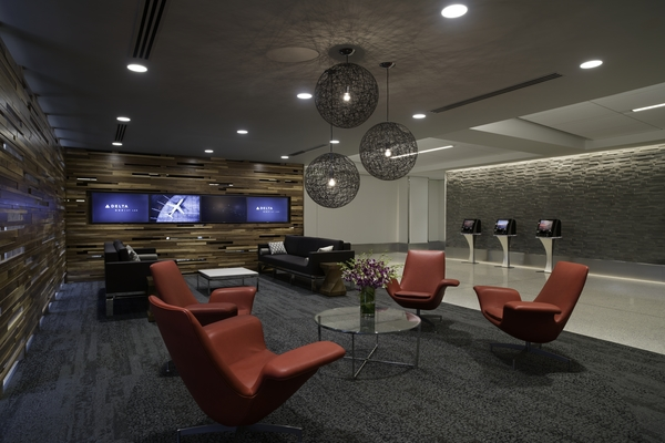 The lounge area of Delta One at LAX. - These images are protected by copyright. Delta has acquired permission from the copyright owner to the use the images for specified purposes and in some cases for a limited time. If you have been authorized by Delta to do so, you may use these images to promote Delta, but only as part of Delta-approved marketing and advertising. Further distribution (including proving these images to third parties), reproduction, display, or other use is strictly prohibited.