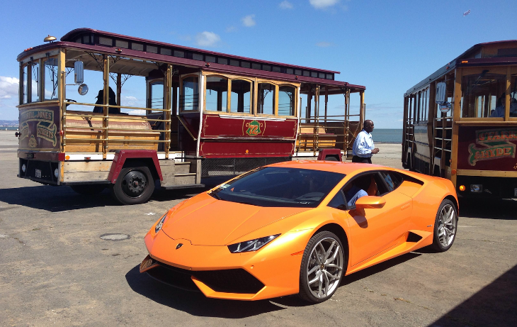 Uber turned 5 years old this week. To celebrate, some SF riders were picked up in Lamborghinis or trolleys.