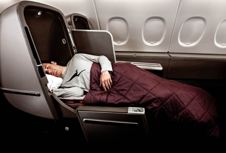 QANTAS will have business class seats like this one on it 747-400 flights between SFO & SYD (Image: QANTAS)
