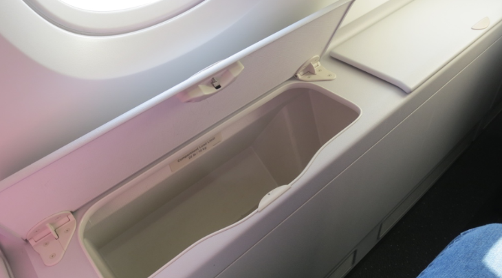 Not a speck of dust or detritus in this seatside bin upstairs on a KAL A380 (Photo: Chris McGinnis)