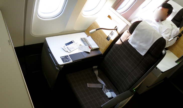 Seat 4K on the bulkhead row between first and business class (Chris McGinnis)
