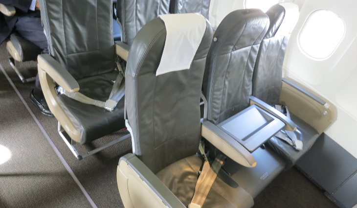 Intra-European style business class on the short flight between Barcelona and Zurich