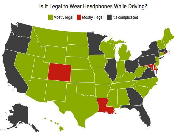 Illegal to wear headsets when driving?