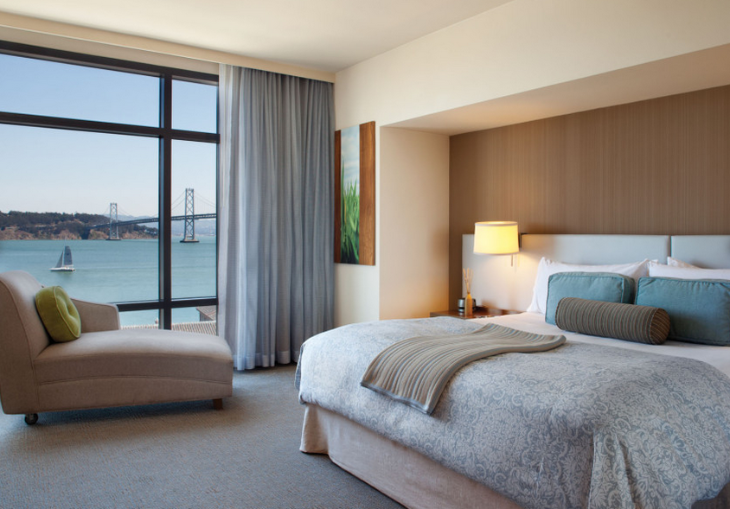 A king bed with a water view at SF's popular Hotel Vitale will set you back $725 in mid July (Photo: JDV Hotels)
