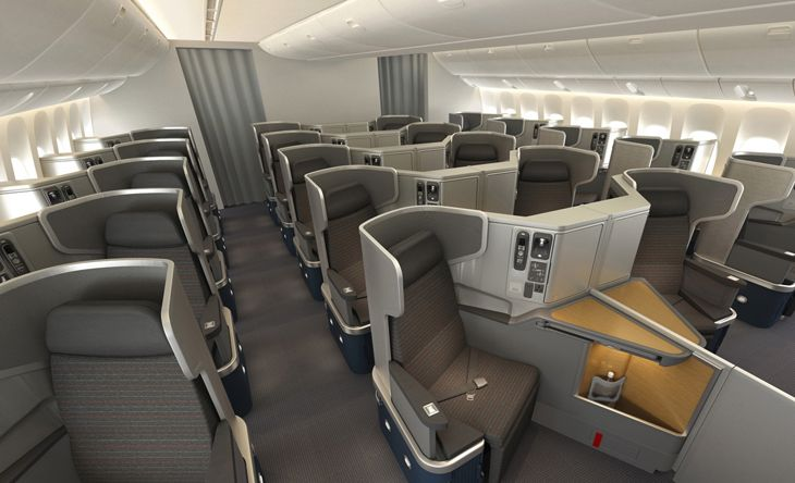 Business class seats on an American 777-300ER. (Image: American)