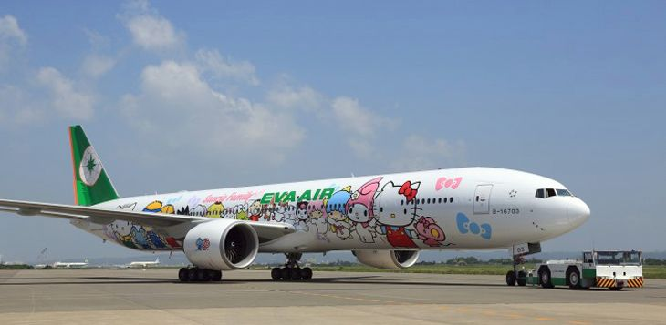 "EVA's ""Hello Kitty"" 777-300ER now flies between Houton and Taipei. (Image: EVA)"