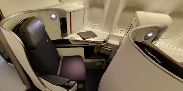 Business class on a refurbed Air France B777 (Google Maps view)