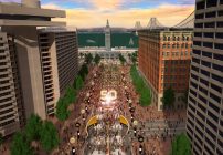 A rendering of Super Bowl City in San Francisco