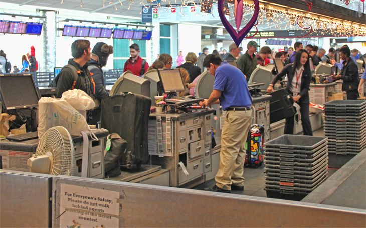 Flight canceled? Don't go to the check-in counter -- use the app. (Image: Jim Glab)