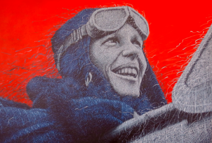 Delta's new Sky Club offers Amelia Earhart a permanent runway view (Oil on canvas by Alexi Torres)