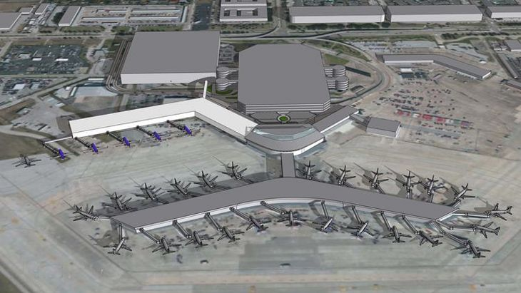 The white portion of the terminal represents Southwest's new international facility at Houston Hobby. (Image: Hobby Airport)