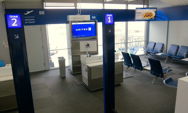 "A prototype of United's mod new ""scented"" gate design at Chicago O'Hare (Image: Chris McGinnis)"