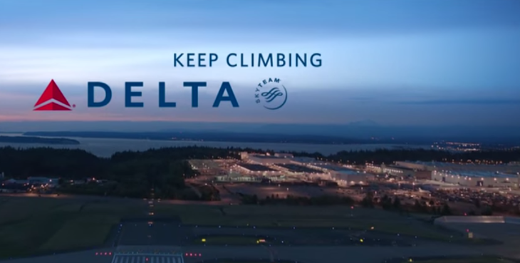 Delta's newest TV ad features a voice-over from a famous Donald (Image: Delta)