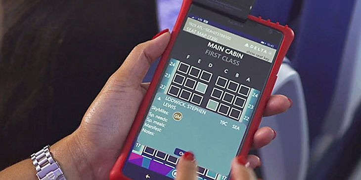 Delta flight attendants can now access passenger data with their Nokia Lumias. (Image: delta)