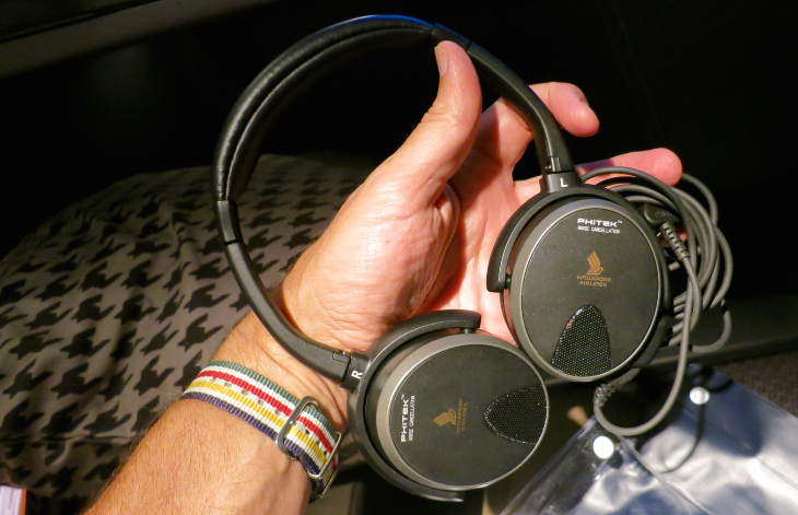 Noise canceling headphones on Singapore Airlines new business class (Chris McGinnis)