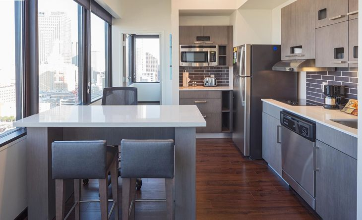 A unit with kitchen in new Orleans' new Hyatt House. (Image: Hyatt)