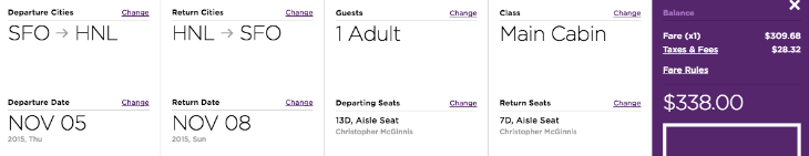 One example of a Virgin $338 fare