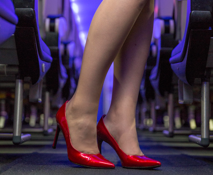 Virgin America's in-flight teammates debut the chic new pump onboard flights as of this fall. The pump is also available to the public exclusively on Zappos.com (Virgin)
