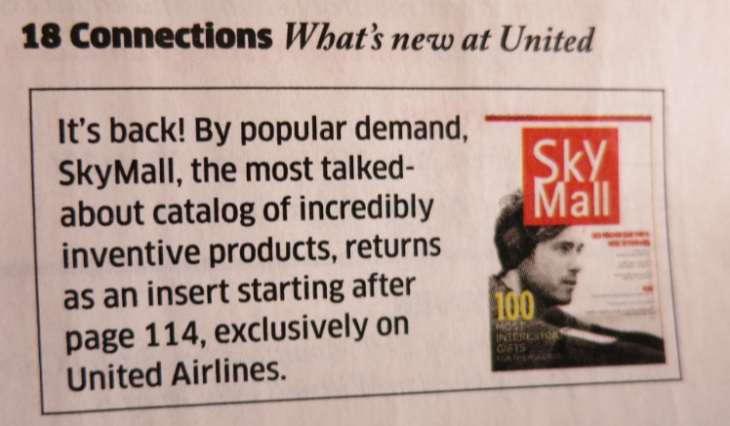 SkyMall is back- now part of United Hemispheres magazine (Chris McGinnis)