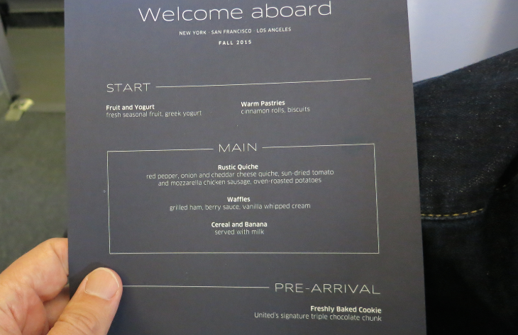 United breakfast menu for p.s. BusinessFirst cabin (Chris McGinnis)