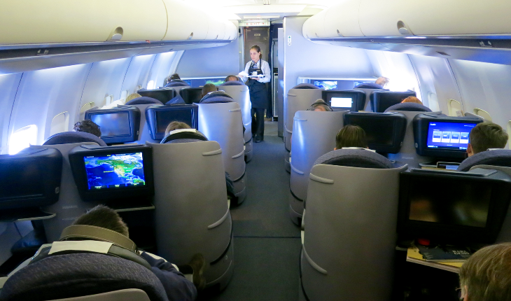The forward BusinessFirst cabin on United p.s. 757 (Chris McGinnis)