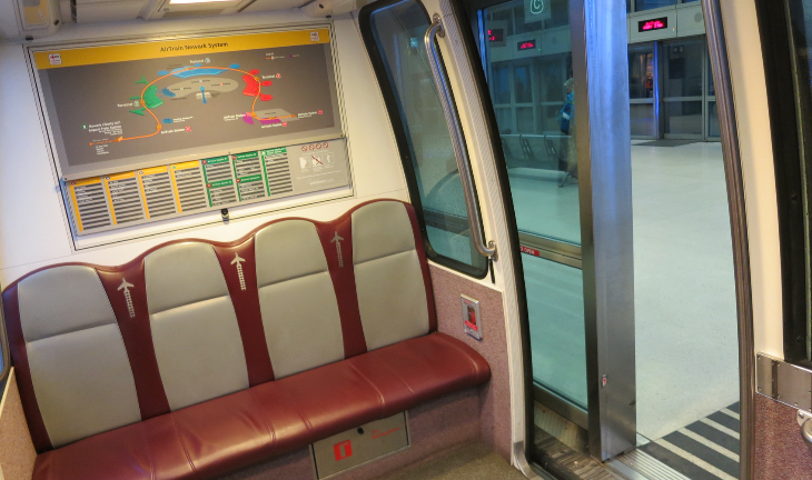 Inside a car on Newark's AirTrain system (Chris McGinnis)
