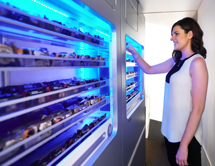 Self service snack bars onboard QANTAS' updated 747s (Photo: QANTAS)