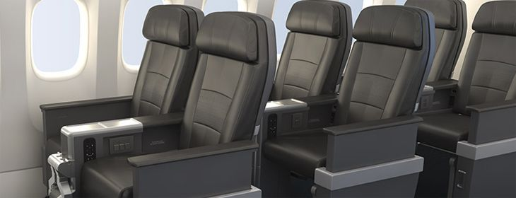 American's new Premium Economy section will have leather seats in a 2-3-2 layout. (Image: American Airlines)