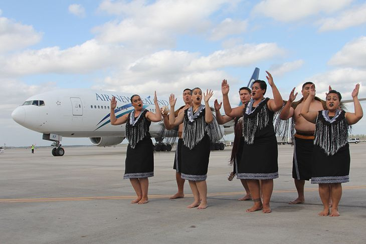 Traditional Maori dancers welcomed Air New Zealand's first flight from Auckland to Houston Bush Intercontinental (Image: Houston Airports System)