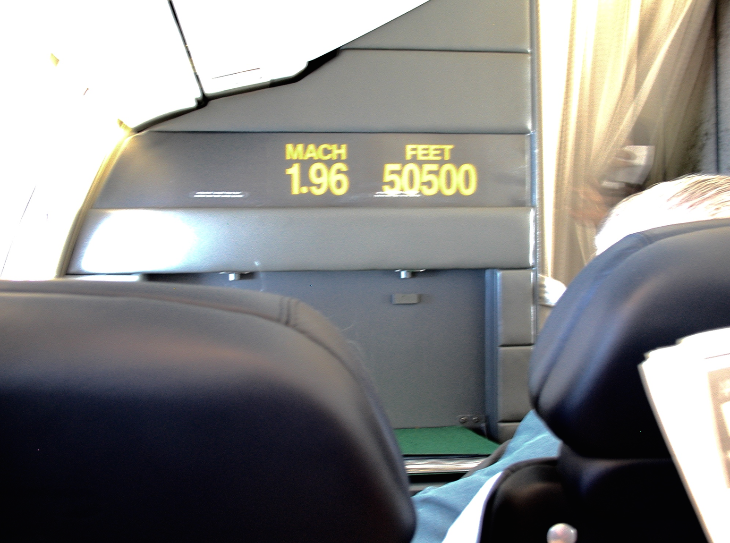 Speed and altitude monitors on the bulkhead (Chris McGinnis)