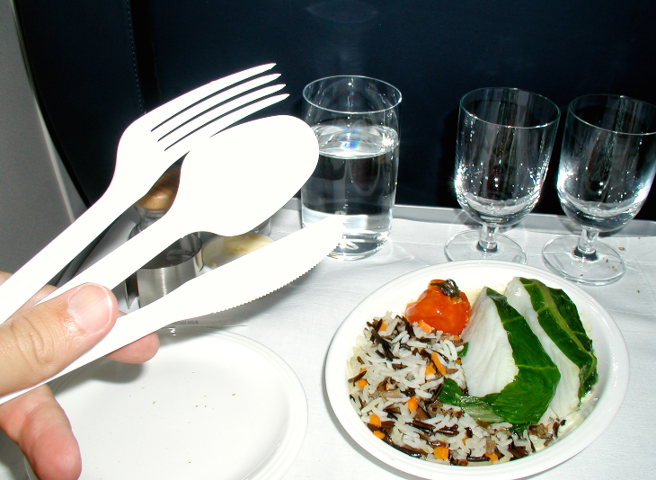 Gourmet meals eaten with plastic forks and knives due to security concerns (Chris McGinnis)