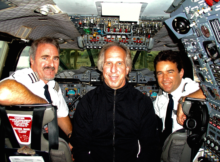 Randy Petersen posing with pilots on one of this Concorde's final flights (Chris McGinnis)
