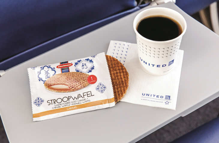 Free snacks like this stroopwafel are back on United starting in February (Image: United)
