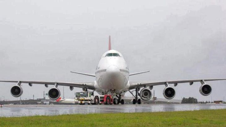 Qantas passengers in Sydney got to see an unusual sight: a five-engine 747. (Image: Qantas)