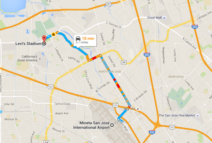 SJC is just 5 miles from Levi's Stadium (Image: Google Maps)