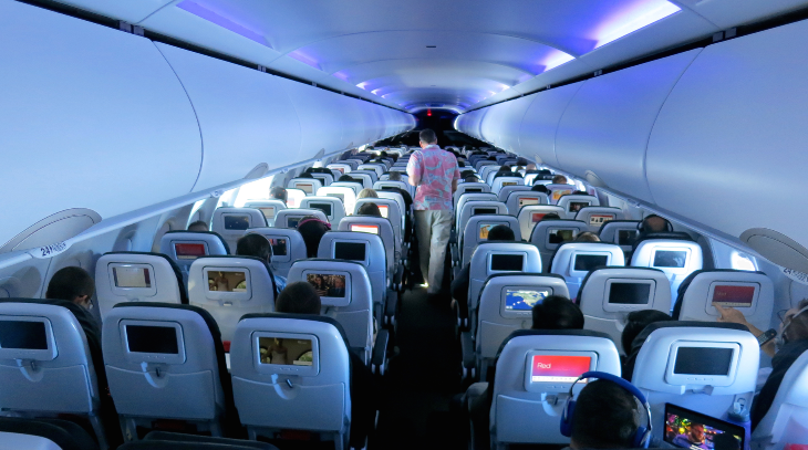 Main cabin on a new Virgin America A320 seats 138 (Chris McGinnis)