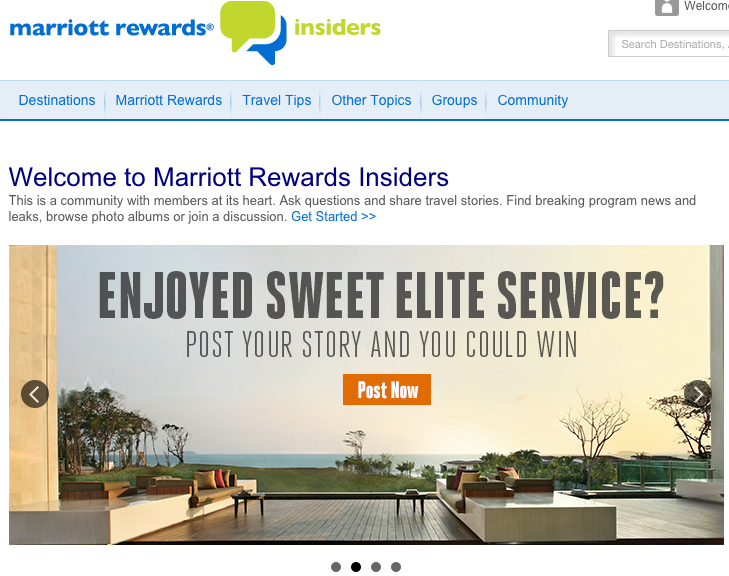 Marriott Rewards Insiders landing page