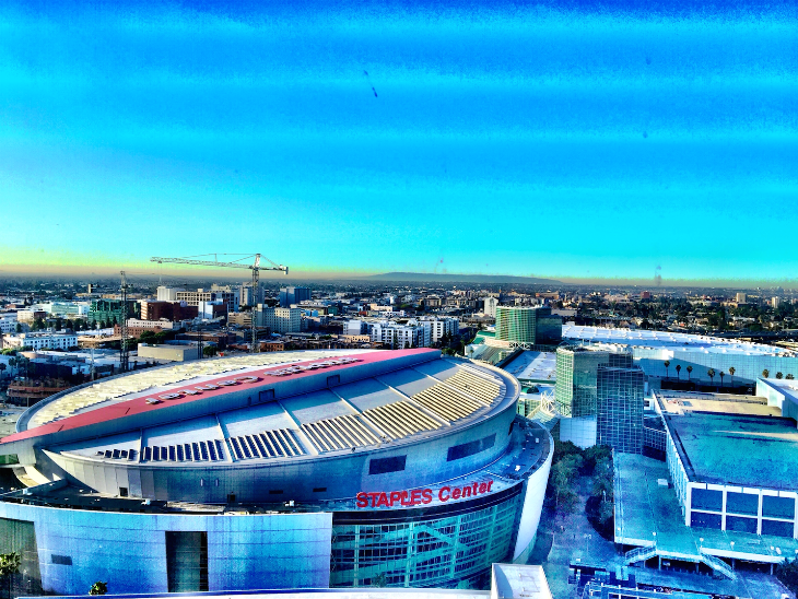 The view from my room at the JW Marriott LA Live, Los Angeles (Photo: Chris McGinnis)