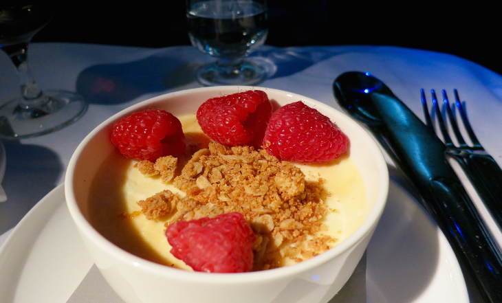 A delicious vanilla custard with raspberries for dessert (Photo: Chris McGinnis)
