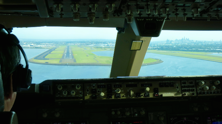 I handed my camera to pilots for some great approach shots- note Sydney skyline! (Photo: QANTAS Pilots!)