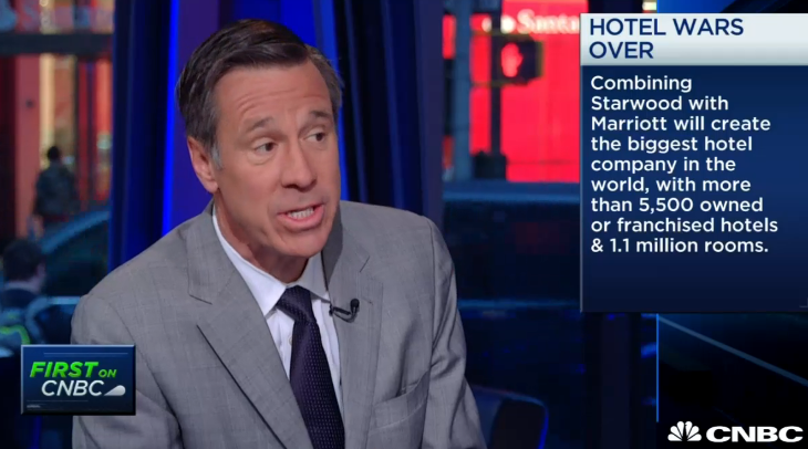 Marriott CEO talks Starwood on CNBC today (Image: CNBC)