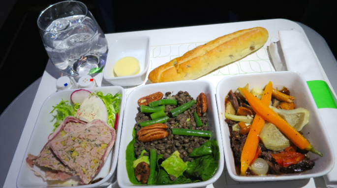 JetBlue's Mint class offers upgraded meals. (Photo: Chris McGinnis)