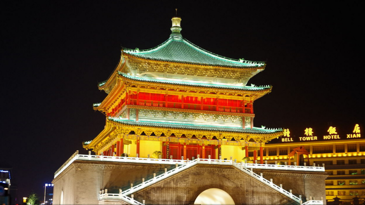 Bell tower in Xian (Photo: DanielinBlue Wikimedia Creative Commons)