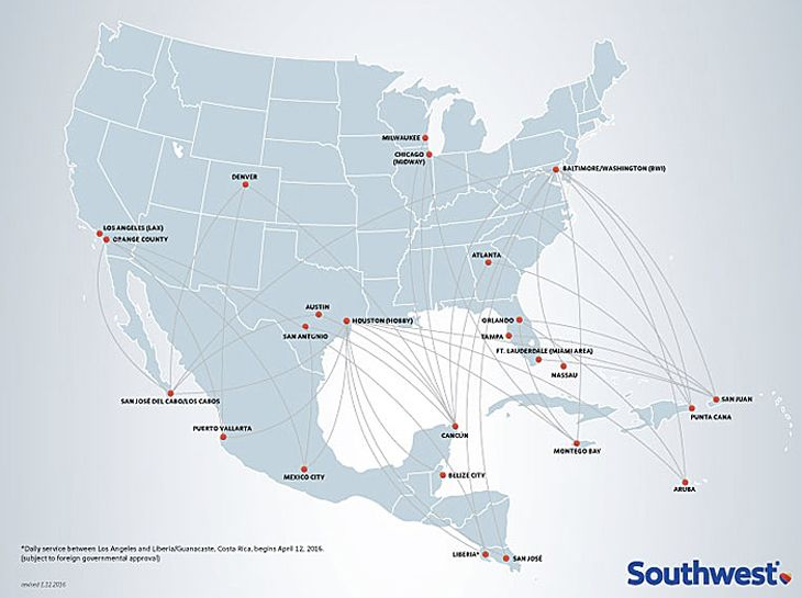 Southwest is a major player on international routes. (Image: Southwest)