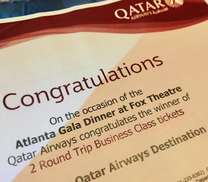 At the Fox Theatre event, Qatar gave away a pair of free roundtrip tickets anywhere it flies
