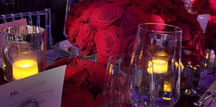 Thousands of red roses at the Qatar Airways launch event in Atlanta
