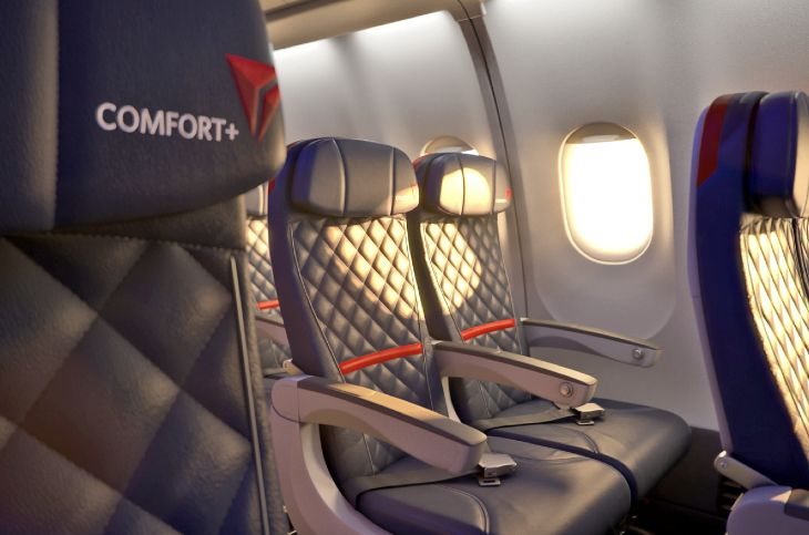 Delta's Comfort+ seating offers extra legroom and other perks. (Image: Delta)